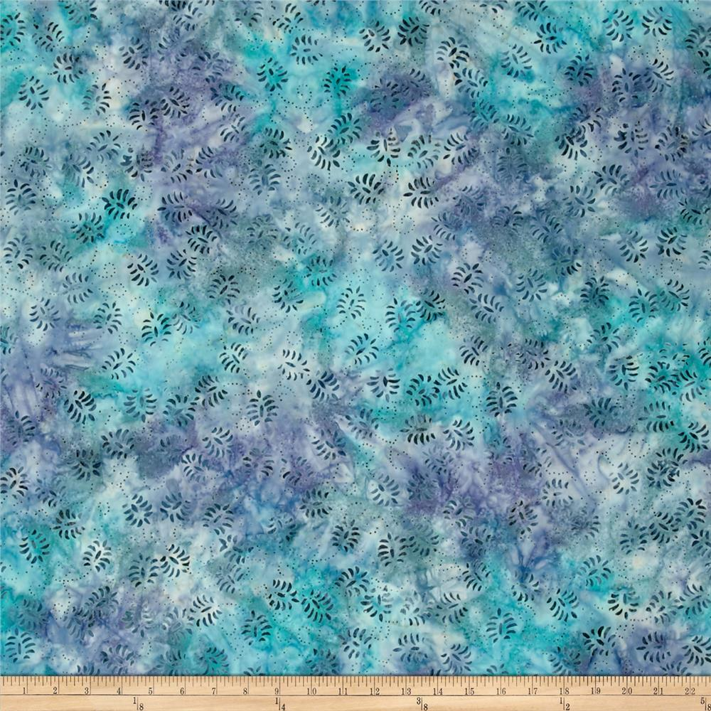 Wilmington Batik Dancing Leaves Stillwater Blue