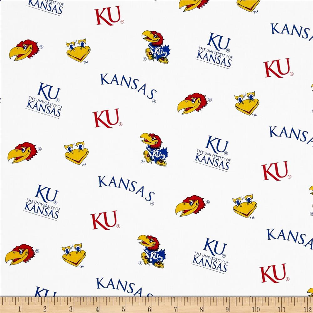 Collegiate Cotton Broadcloth University of Kansas White