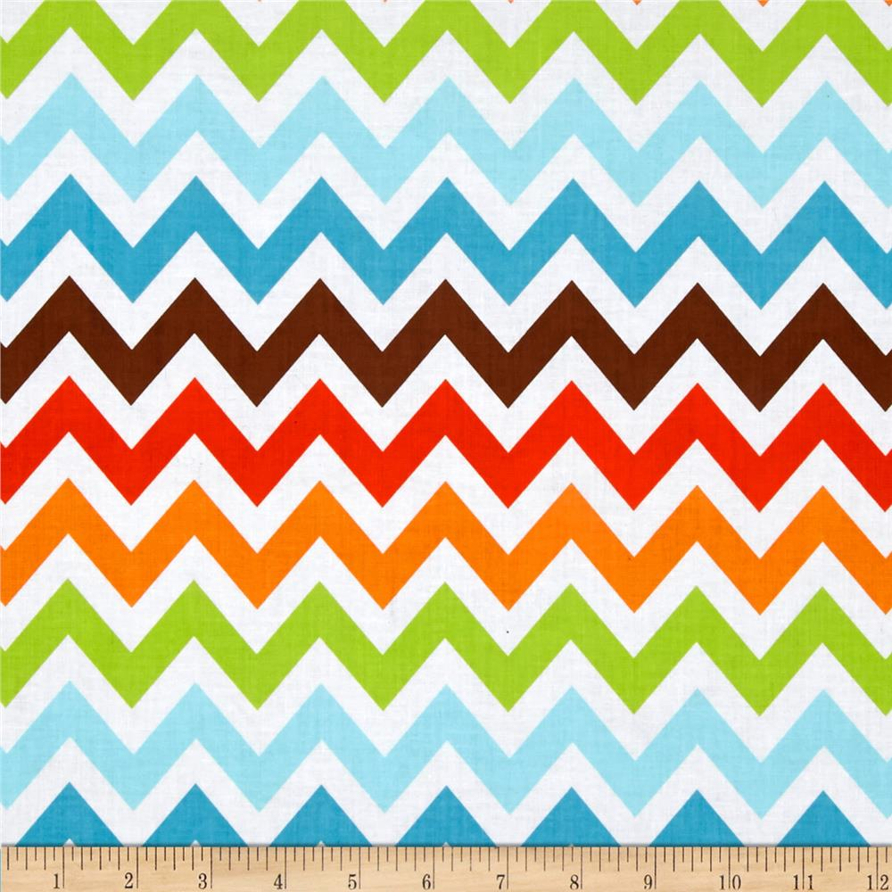 Remix Chevron Bermuda Orange/Blue - Discount Designer Fabric ...