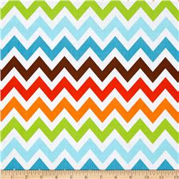Remix Chevron Bermuda Orange/Blue Fabric