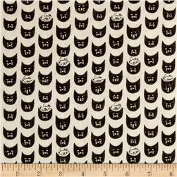 Kokka Trefle Soft Animals Cute Kitten Double Gauze Black