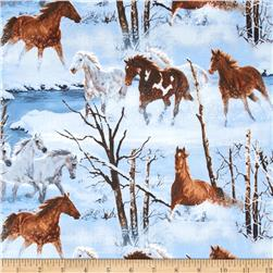 Wild Wings Approaching Storm Scenic Horses Blue Fabric