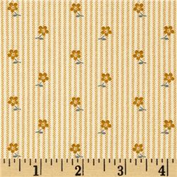 Little House On The Prairie Flower On Stripe Tan