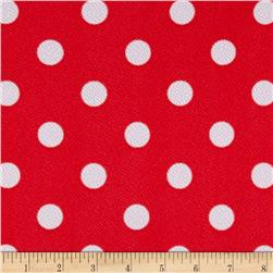 Liverpool Double Knit Print Dots Coral Ground/White