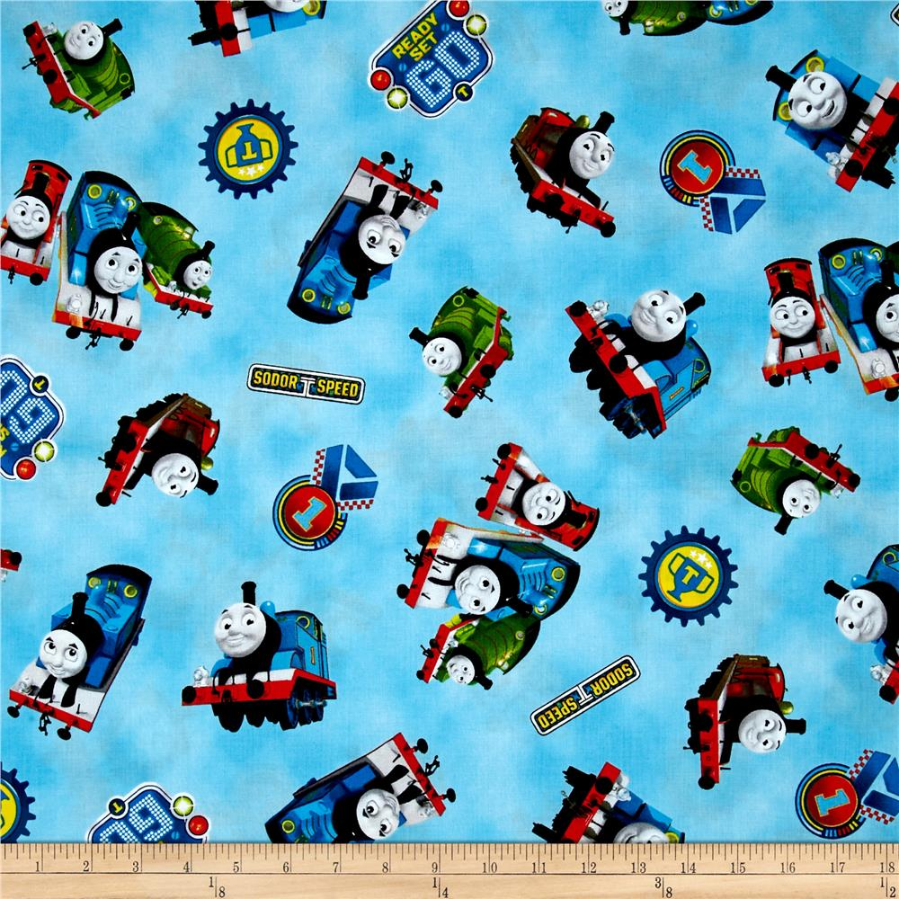Thomas the train the steam team tossed trains blue for Train print fabric