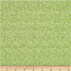 Holiday Cheer Snow Swirls Green Fabric