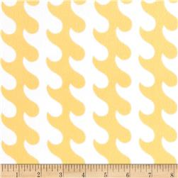 Riley Blake Fly Aweigh Flannel Waves Yellow Fabric