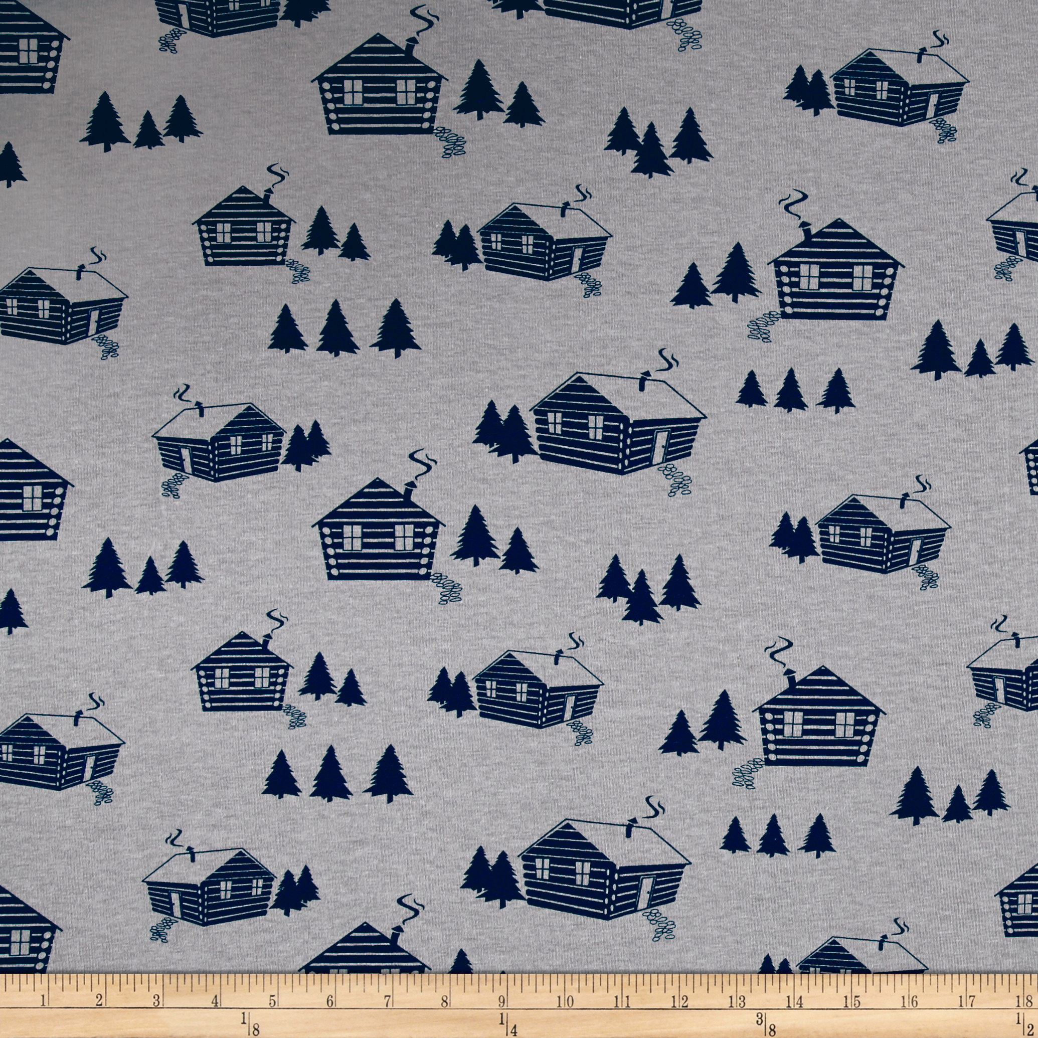 Image of Bolt by Girl Charlee Homestead Jersey Knit Life Cabins Gray/Dark Blue Fabric