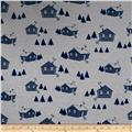 Bolt by Girl Charlee Homestead Jersey Knit Life Cabins Gray/Dark Blue