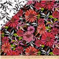 Hannah Double Faced Quilted Daisies Coral/Black