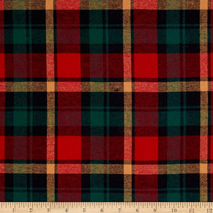 Yarn Dyed Flannel Plaid Wine/Hunter Fabric