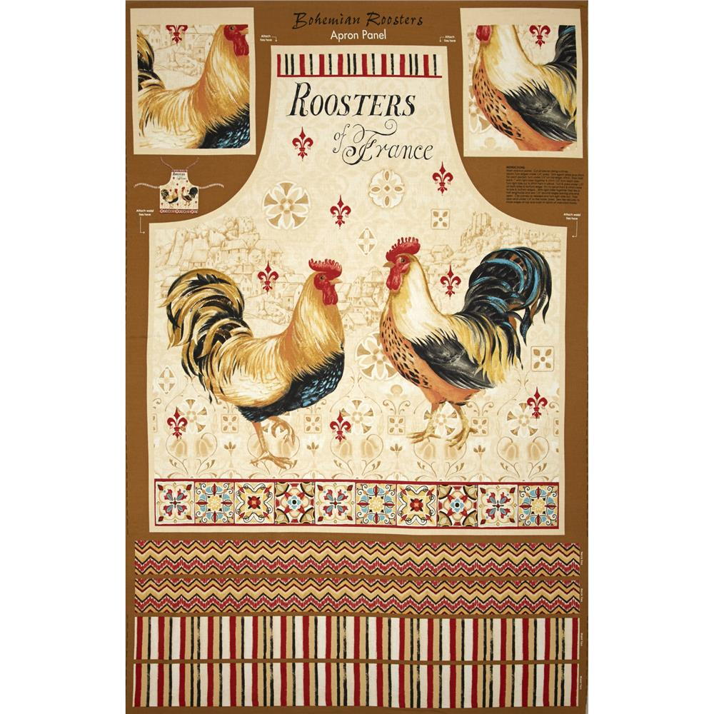 """Bohemian Roosters Apron 24"""" Panel Multi"""