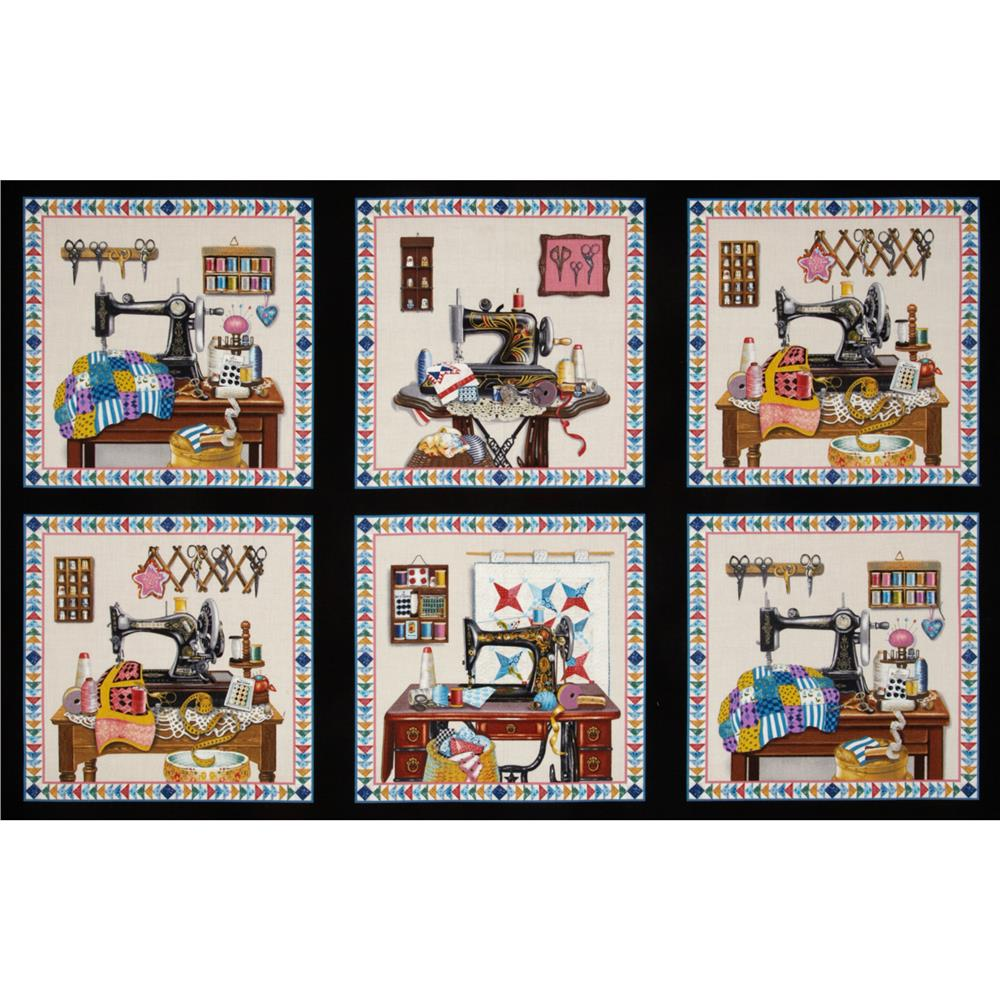 Stitch In Time Sewing Patchwork Panel Black Discount