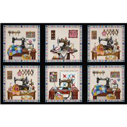 Stitch In Time Sewing Patchwork Panel Black Fabric