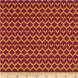 Alchemy Metallic Diamond Geo Red/Gold Fabric
