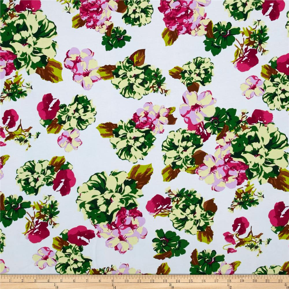 Stretch French Terry Knit Floral Pink/Green/White