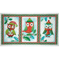Owl Be Home for Christmas 24 In. Owl Tri Panel Gre1