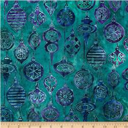 Artisan Batik Noel 2 Ornaments Winter Blue