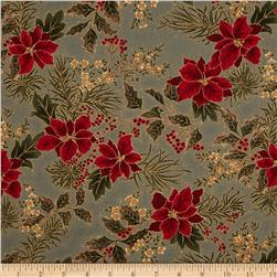 Moda Let it Glow Metallic Poinsettia & Holly Slate