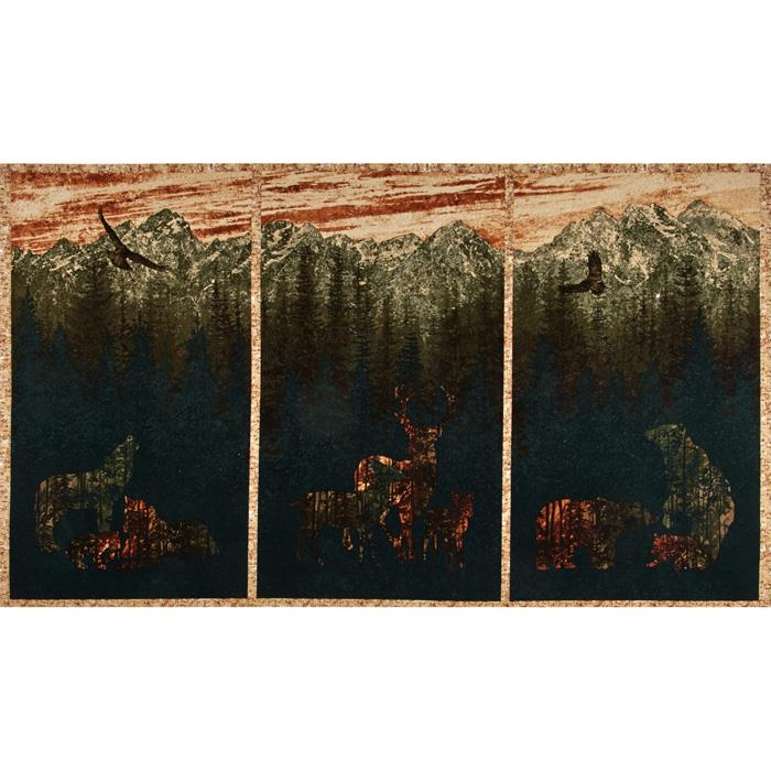 Aspen Ridge Flannel Deer Panel Copper Brown