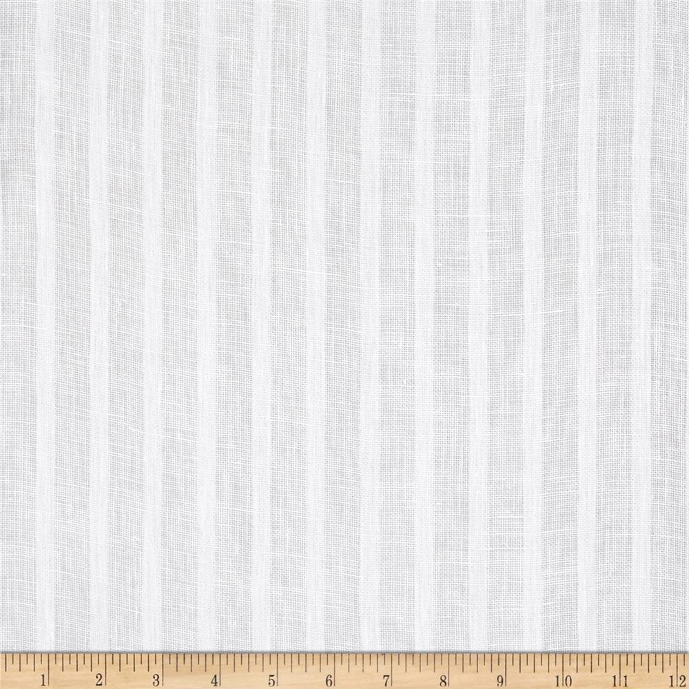 P Kaufmann Nikki 100% Linen Striped Sheers  Winter White