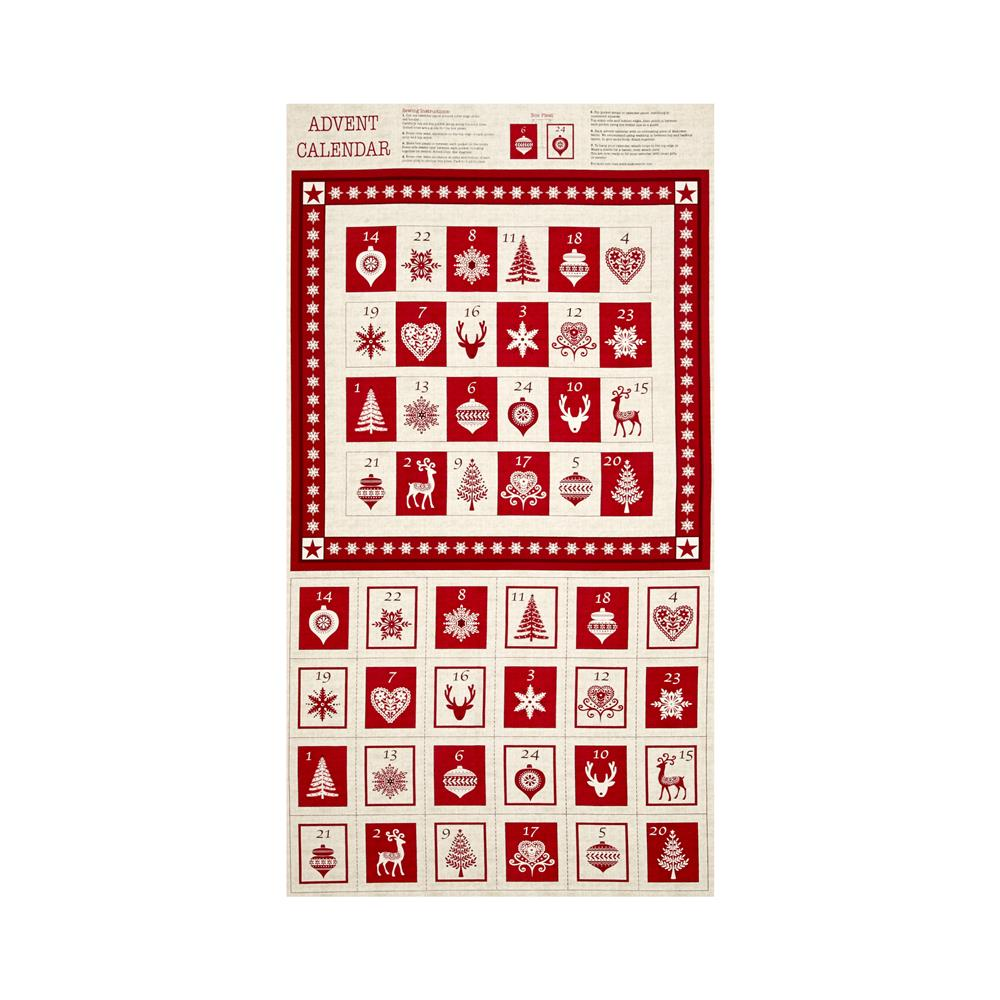 Scandi 3 Advent Calendar 24 In. Panel Linen/Red