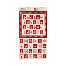 Scandi 3 Advent Calendar Panel Linen/Red