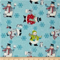 Debbie Mumm All Bundled Up Snowmen Allover Blue