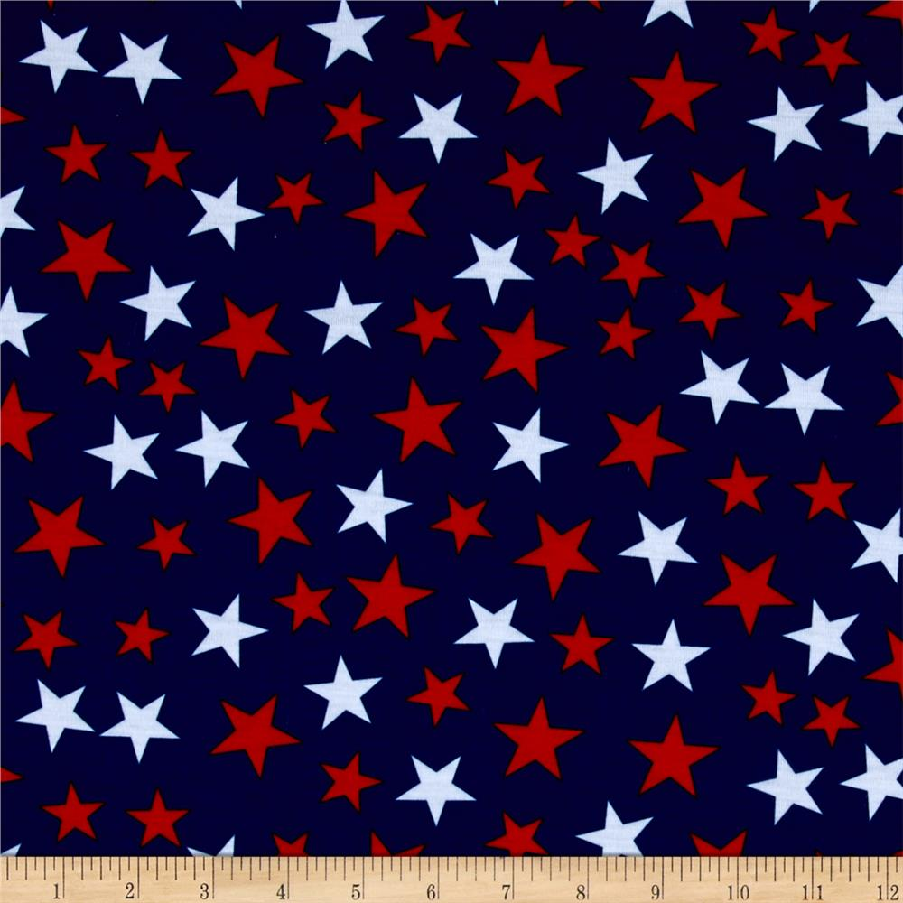Poly spandex jersey knit stars print red white navy for Star design fabric