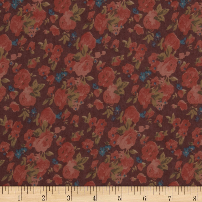 Maribel Voile Floral Burgundy/Coral/Teal Fabric