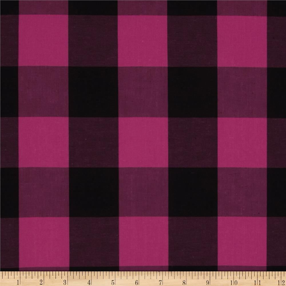 Stretch Yarn Dyed Shirting Large Check Fuchsia/Black