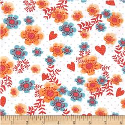 Love Hope Pray Tossed Flower White Fabric