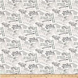 Crab Shack Newsprint Digital Gray