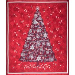 "Celebrate the Season Metallic Christmas Tree 36"" Panel Red"