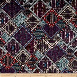 Monaco Stretch ITY Knit Mosaic Print Purple/Orange/Black