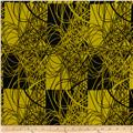 Crepe de Chine Abstract Black/Yellow