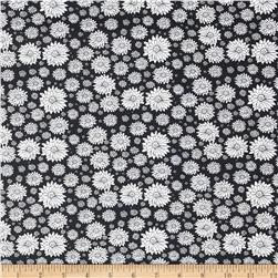 Morocco Blues Stretch Poplin Floral Print Midnight Black/White