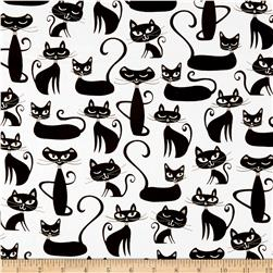 Robert Kaufman Whiskers & Tails Cats Allover White
