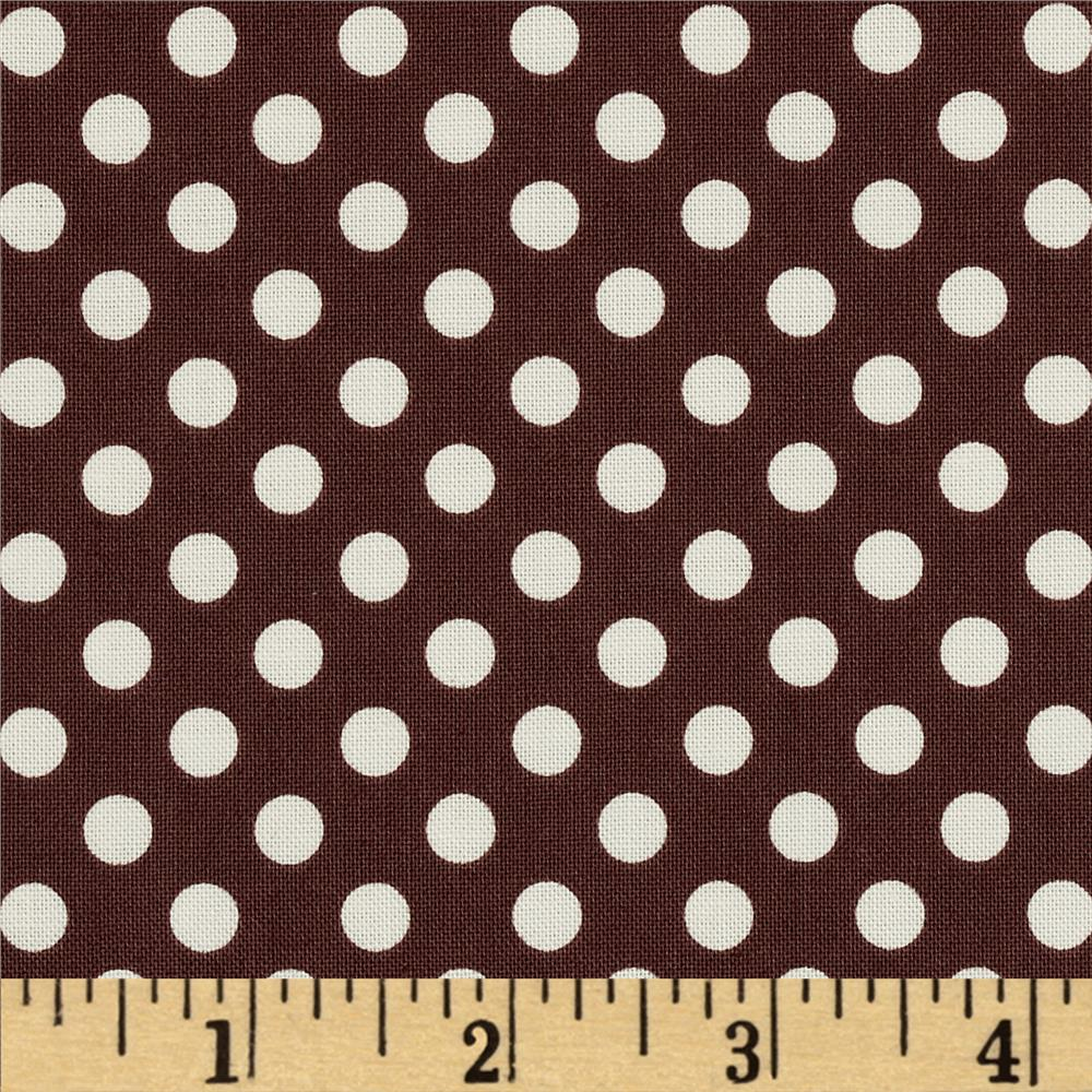 Riley Blake Le Creme Basics Small Dots Brown/Cream