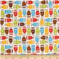 Robert Kaufman Urban Zoologie Mini Flannel Owls Wild