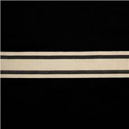 "1 1/2"" Woven Ribbon Stripes Black"