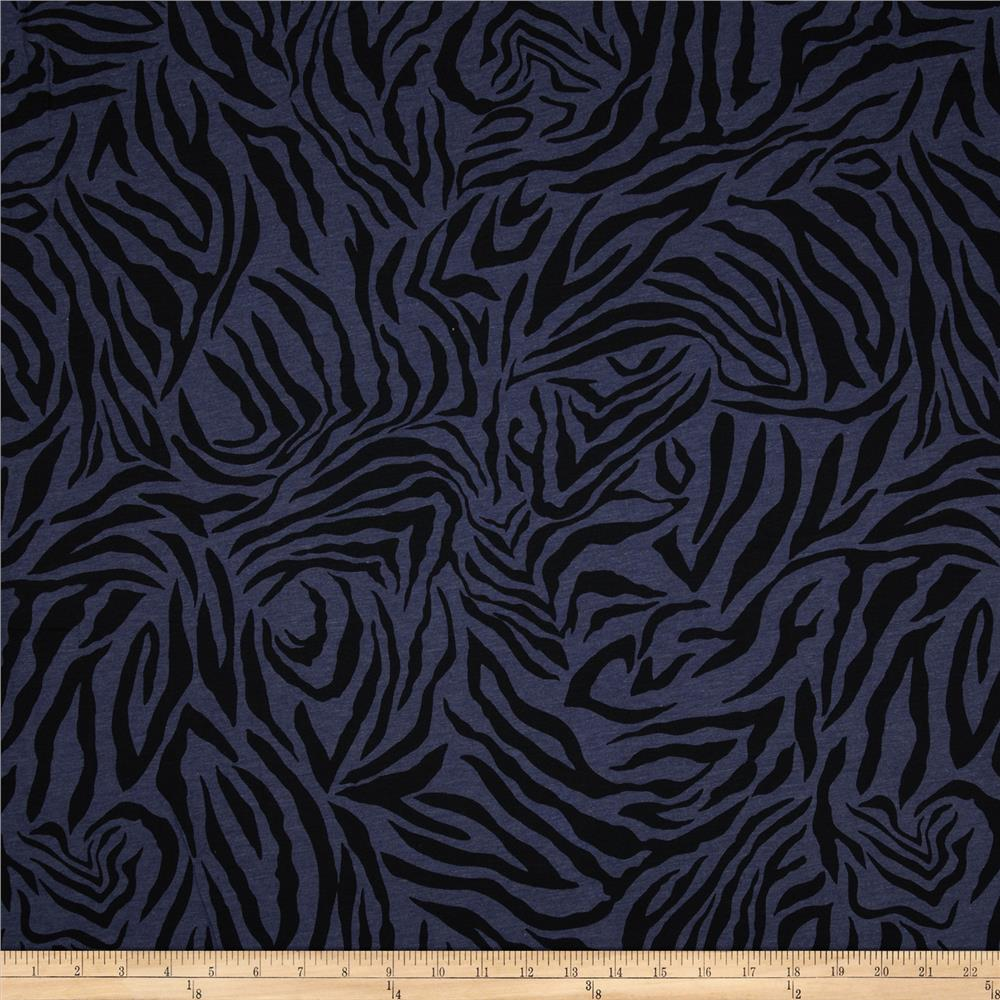 Cotton Jersey Knit Zebra Indigo/Black