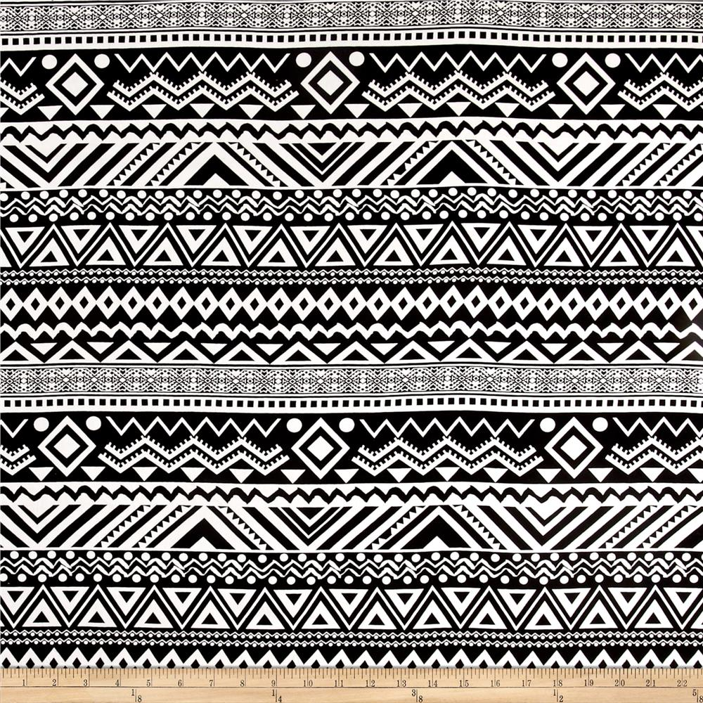Rayon Challis Tribal Lane White/Black