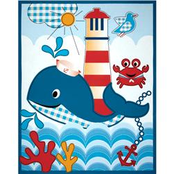 Whale's Adventures Panel White/Blue Fabric