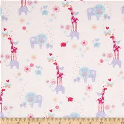 OOO Baby Flannel Animals Pink Fabric