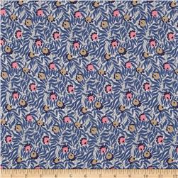Liberty of London Regent Silk Chiffon Huckleberry Blue/Coral/Grey