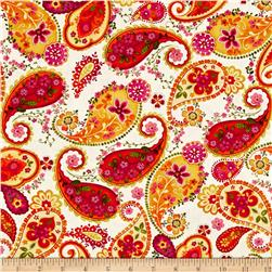 Timeless Treasures Dahlia Tossed Paisley Cream