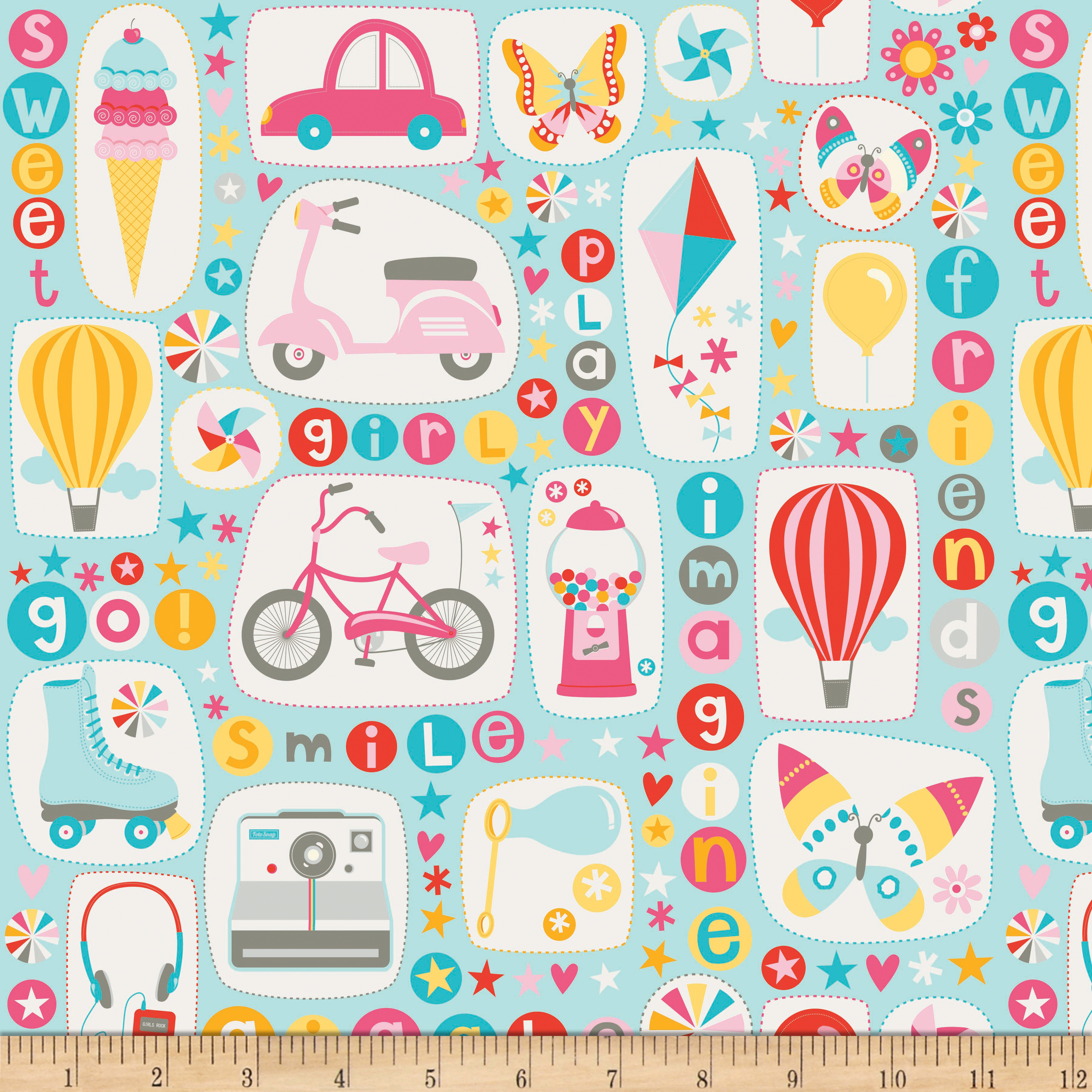 Riley Blake Girl Crazy Main Blue Fabric
