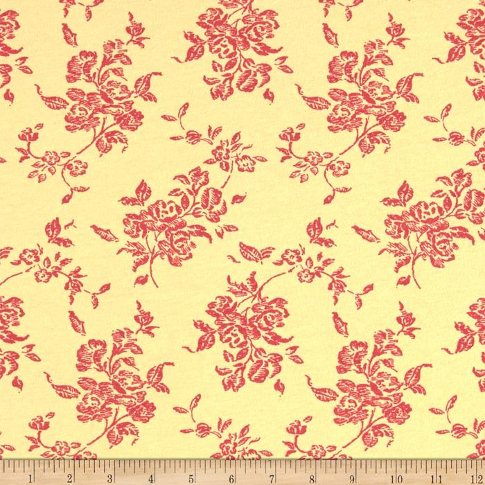 Cotton Stretch Jersey Knit Wild Flowers Yellow/Pink