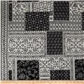 Bubble Crepe Patchwork Double Border Eggshell/Black